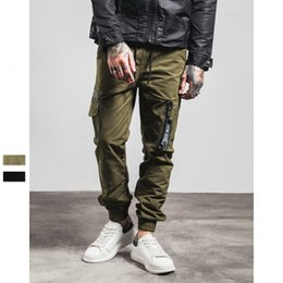 Wholesale 2016 autumn and winter the new Air Force zipper design M pressure pockets men shrink feet casual pants fashion design military cargo pants