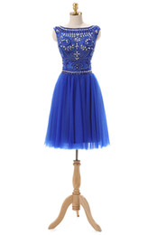 Wholesale 2016 Hot Sales Blue Back Deep V Tulle Fabric Beaded Elegant Prom Dresses Short Party dresses for celebration Fast Ship