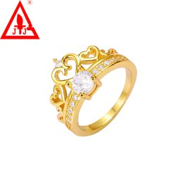 Wholesale Luxury Wedding Rings Jewelry Charms K Gold Plated New Brand Crown Style AAA CZ Diamond Crystal Alex and ani Hot Sale