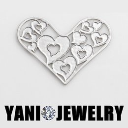 New Arrival Heart Floating Locket Charms Heart Shape Window Plates for 30mm Glass Memory Locket Necklaces 2 Colors
