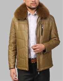 Wholesale Fall Men s seven wolves genuine real sheepskin leather thick winter blue fox fur collar leather jacket M XL