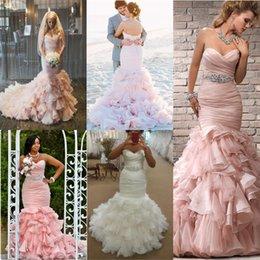 Romantic BLush Pink Wedding Dresses Pleated Ruffles meramid Chapel Train Crystal Sash Garden Bridal Dresses 2016 lace Up Wedding Gowns