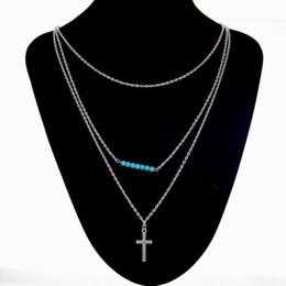 Croix d'argent en Ligne-10Pcs / Style Lot Summer Bijoux Fashion Cross Bead Layered collier pendentif bijou Collier Turquoise de femmes Argent
