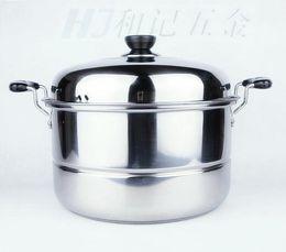 Wholesale-0 Stainless steel steamer cooker pot single tier 26cm soup pot stew pot roast cooking pots and pans steamer