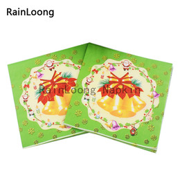Wholesale RainLoong Beverage Paper Napkin Bell Christmas Festive Party Supply Printed Serviettes Tissue Decoupage Table Decoratio cm cm