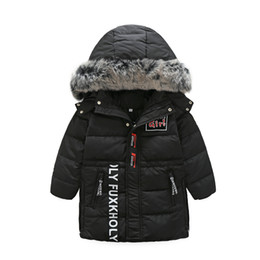 Kids new hooded sports feather jacket fashion in the long section of the big hair collar hooded down girls and girls down jacket