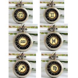Wholesale Hot Sale Zodiac Pocket Watch Glass picture Necklace Pocket Watch for men