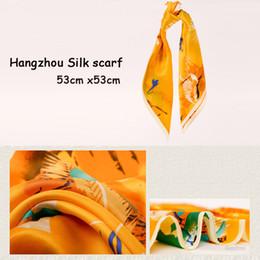 Wholesale office lady cm cm professional fashion grace flower painting Women Silk small square scarf online offline marketing