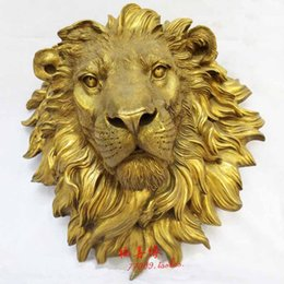 Wholesale 100 New High Quality Fashion Picture of Chinese culture Statue gt gt West Art pure bronze sculpture carvings fierce beast of prey lion head sta