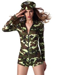 Wholesale 2016 New Arrival Military Adult Sexy Army soldier Costumes Commander camouflage printed romper Bodysuit with long sleeves War game outfits