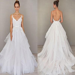 Wholesale China Black Trumpet - 2017 Spring Spaghetti Straps Wedding Dresses China Backless Sweep Train Organza Wedding Gown Alvina 2016 Valenta Bridal Gown