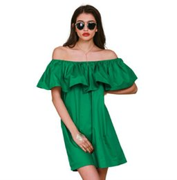 Apparel Ruffles slash neck 2016 Summer women dress New style off shoulder sexy cotton beach dresses free shipping