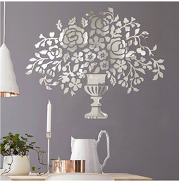 Wholesale Acrylic wall sticker vase with flowers