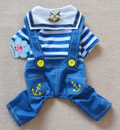 New Spring Summer Dog Jumpsuit Navy Sailor Pattern Pet Sport Rompers 2Color 50Pcs Lot Free Shipping