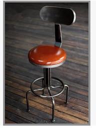 Wholesale Vintage leather seat backrest lift rotating chair high leg plate Iron Bar Stools minimalist office