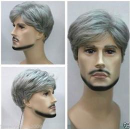 Promotion pleine perruque de dentelle hommes Livraison gratuite de haute qualité Mode image perruques de lacet Nouveaux hommes gris perruque cosplay perruque courte