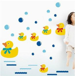 Wholesale A generation of fat Fridge Bathroom Shower Bathtub Glass Kitchen Restaurant Wall Stickers ducklings swimming AY644