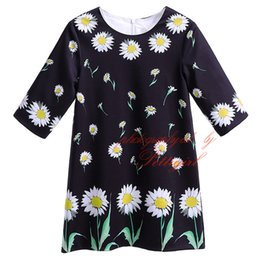 Pettigirl New Spring And Summer Chrysanthemum Florals Print Little Black Straight Girls Dresses Half-Sleeves Baby Kids Clothes GD90124-525F