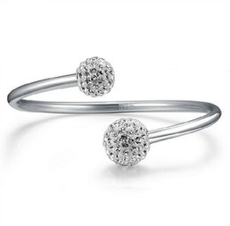 Cristales checo pulseras en Línea-Pulseras de plata coreana de perforación checa abiertos 30% 925 pulseras de plata de la mujer de plata de la boda Shamballa joyas de mano de la bola de cristal