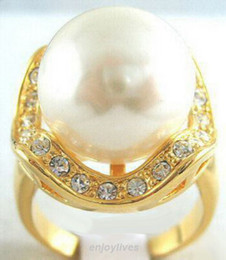 2016 hot buy The pearl jade silver bracelet ring earring necklace>>>>>White South Sea Shell Pearl Crystal Yellow Gold Plated Ring Size: 7.8.