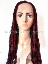 Braided Full Lace wig synthetic Xpression kanekalon Micro african american Twist braiding hair Burgundy Blonde wigs for black women