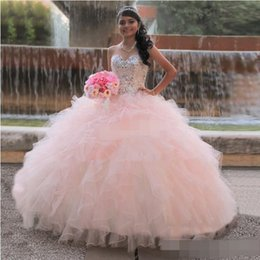Custom Made Pink Girls Quinceanera Dresses Ball Gown Sweetheart Beaded Neck Ruffles Tulle Corset 2019 Plus Size Prom Formal Debutantes Gowns