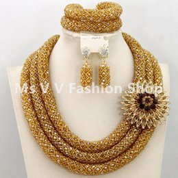 indian jewelry set 3 Layers Gold Nigerian Wedding African Beads Jewelry Set Dubai Coral Beads Bridal necklace Set for women gift