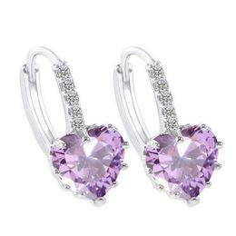 Purple Amethyst Heart Clear Crystal Cluster 18K White Gold Plated Oval Cute Hoop Earrings for Women