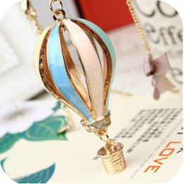 Wholesale Dreamer Retro Colorful Hot Air Balloon Chains Long Sweater Chain Necklaces Charm Necklace Fashion Personalized Jewelry Hot Sale