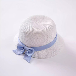 2016 Paper Straw White Hat Short Brim Sun Hats with Purple Bow for Girls Top Quality Girls Sun Protection Hats KidsTravel Hat