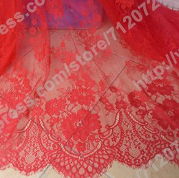 Wholesale Red skin off white Can not ball lint no hook line tear is not bad Venice embroidered French eyelash bridal lace fabric M PC