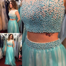 Turquoise Green Two Piece Prom Dresses 2016 with beaded A Line Robe De Soiree Sheer tulle women wear Party Prom Gowns