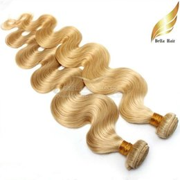 Blonde Hair Brazilian Hair Weaves Double Weft Body Wave Hair Bundles Colored Human Hair Extensions Color #613 Free Shipping Bella Hair