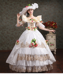 100%real white lace champagne embroidery carnival ball gown with hat medieval Renaissance Gown queen dress cosplay stage solo belle ball