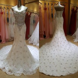 Luxury 2016 New Beaded Crystal Lace Mermaid Wedding Dresses Sparkly Bling Bling Sweetheart Lace Up Back Chapel Train Bridal Gowns EN7269