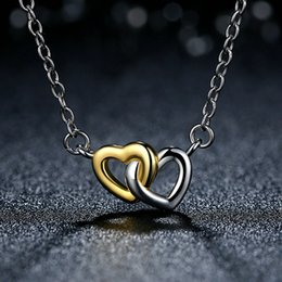 Genuine 925 Sterling Silver Interlinked Hearts Pendant Necklaces United in Love Elegant Silver & 14k Gold Jewelry for Women NL045