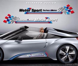 Wholesale Car Body Stripes - 1set white M auto Sport Race Stripes Vinyl Car Truck Body Sticker Side for BMW