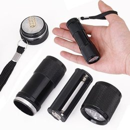 wholesale Mini Aluminum Portable UV Ultra Violet 9 LED Flashlights UV Flashlight Torch Light Lamp flashlight for outdoor free DHL UPS