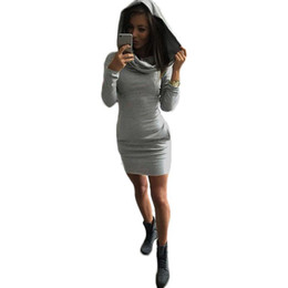 Women Fashion Bodycon Long Sleeve Top Blouse Sweatshirt Jumper Pullover Hoodie Stylish Mini Dress S M L XL