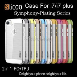 Wholesale Slicoo Brush Symphony Plating Series Electroplate PC TPU Case For Iphone Plus I7 Hybrid Clear Bling Phone Dual layer Cover Skin iphone7