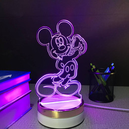 Wholesale Mickey Mouse USB touch Night Lamp d Table Lamps color changing LED Lamp home decor customized Gift for children
