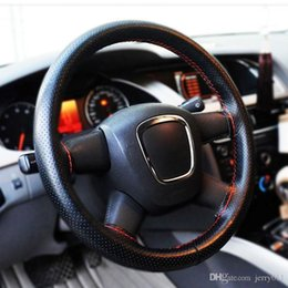 1 PC New Universal Anti-slip Breathable PU Leather DIY Car Auto Steering Wheel Cover Case With Needles Black  Red Color Thread