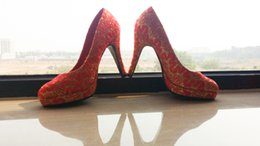 Wholesale Knitted red Dress Shoes Wedding Shoes Red Shoes Only One Pair