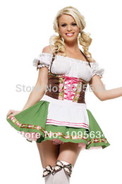Wholesale Free PP Gretchen Beer Girl Sexy Adult Halloween Dirndl Costume S M L XL in stock Women Oktorberfest Beer Maid Dirndl Costume