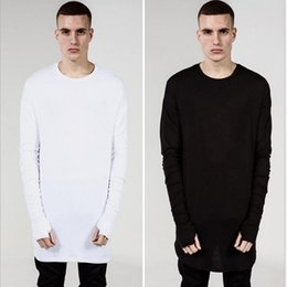Wholesale Long Sleeve T Shirt Wool - New Thumb Hole Cuffs Long Sleeve Swag Mens Hip Hop T-Shirt Wool kanye west oversized T-shirt Men Clothes plus size
