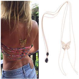 Wholesale-Hot Sexy Bikini Long Necklace Body Chain Bare Back Gold Butterfly Pendant Body Jewelry NE147
