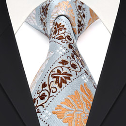 F19 Light Blue Brown Orange Floral Checked Mens Ties Neckties 100% Silk Jacquard Woven Fabulous Wholesale Free Shipping