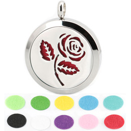 Wholesale 1pcs magnet mm cute rose flower Aromatherapy Essential Oil surgical Stainless Steel Perfume Diffuser Locket Necklace with chain and pads