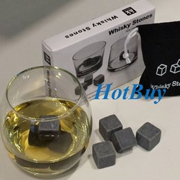 Whisky Ice Cube Stones 9pcs lot Soapstone Rocks Drinks Beer Cooler Great Gift With Velvet Bag #3843