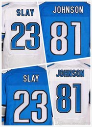 Wholesale Mens Johnson Jersey Darius Slay Jersey Elite Full Stitched Jerseys Embroidery Blue White Size S XL